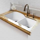 """Dockweiler 768-UM Offset Double Bowl Undermount Kitchen Sink   33"""" x 22"""" x 10.75"""""""