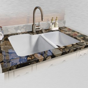 "Redondo 735-UM Offset Undermount Kitchen Sink   33"" x 22"" x 10"" / 8"""