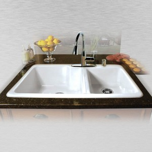 "Huntington 736-5 Offset Self Rimming Kitchen Sink 36"" x 22"" x 10"" / 8"""