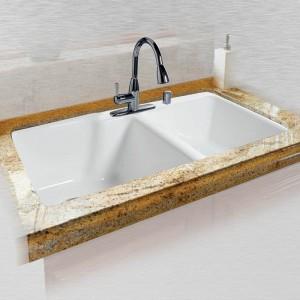 """Huntington 737-4 Offset Tile Edge Kitchen Sink 36"""" x 22"""" x 10"""" / 8"""""""