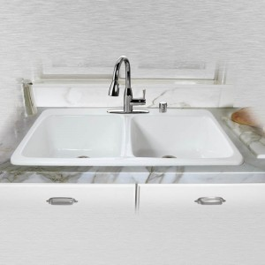 "Big Corona 743-5 Double Bowl Self Rimming Kitchen Sink   43"" x 22"" x10"""