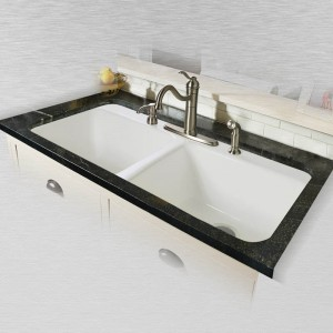 "Big Corona 744-4 Double Bowl Tile Edge Kitchen Sink   43"" x 22"" x 10"""