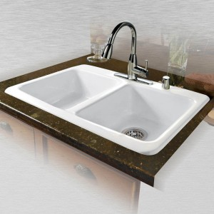 "Doheny 747-5 Equal Double Bowl Self Rimming Kitchen Sink    33"" x 22"" x 9"""