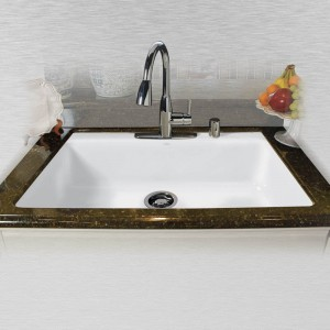 "Delray 754-5 Single Bowl Tile Edge Kitchen Sink 33"" x 22"" x 9"""