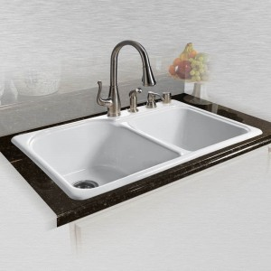 """Dockweiler 767-4 Offset Double Bowl Self Rimming Kitchen Sink 33"""" x 22"""" x 10.75"""""""