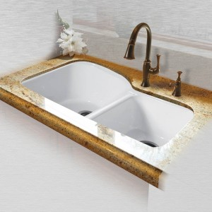 "Dockweiler 768-UM Offset Double Bowl Undermount Kitchen Sink   33"" x 22"" x 10.75"""