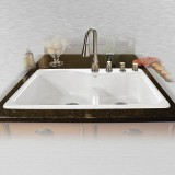 "Windansea 775-4-LD Offset Low Damn Self Rimming Kitchen Sink   33"" x 22"" x 9.75"""