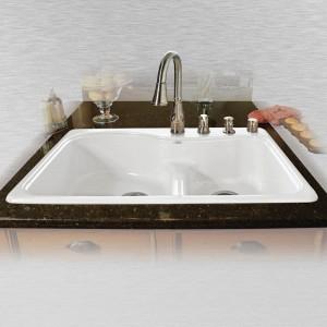"Windansea 775-4-LD Offset Low Damn Self Rimming Kitchen Sink   33"" x 22"" x 9.75"""