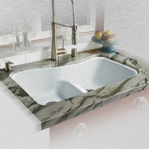 "Windansea 776-UM-LD Offset Low Dam Undermount Kitchen Sink   33"" x 22"" x 9.75"""