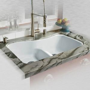 """Windansea 776-UM-LD Offset Low Damn Undermount Kitchen Sink   33"""" x 22"""" x 9.75"""""""