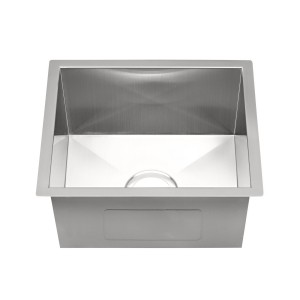 "20-250-5 Stainless Steel Square Corner Single Bowl Undermount Sink 15 3/4"" x 17 3/4"" x 5 1/2"""