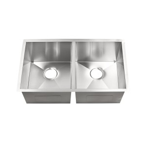 "20-260-10 Stainless Steel Hand Crafted Double Bowl Undermount Sink 32"" x 19"" x 10"""