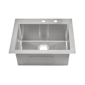 "20-280-9 Stainless Steel Square Corner Topmount Single Bowl Sink 25"" x 22"" x 9"""
