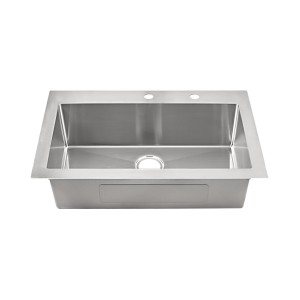 "20-284-9 Stainless Steel Square Corner Topmount Single Bowl Sink 33"" x 22"" x 9"""