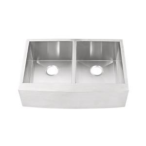 "437-UM-DB-FS Stainless Steel Apron Double Bowl Undermount Sink 35 3/8"" x 22"" x 10"""