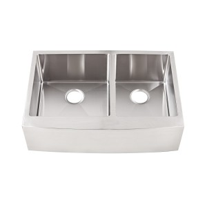 "20-292-FS Stainless Steel Apron Double Bowl Undermount Sink 32 7/8"" x 22"" x 10"""