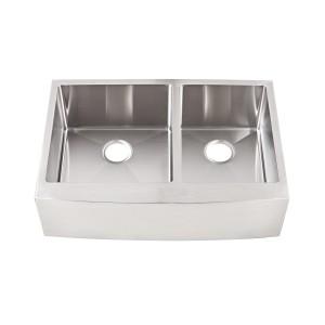 "437-UM-OS-FS Stainless Steel Apron Sink Double Bowl Undermount Sink 35 3/8"" x 22"" x 10"""