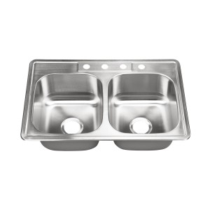 "425-4 Stainless Steel Top Mount / Self-Rimming Double Bowl Sink 33"" x 22"" x 9"""