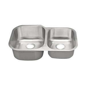 "435R Stainless Steel Double Bowl Undermount Sink 31 1/2"" x 20 1/2"" x 9"" / 7"""