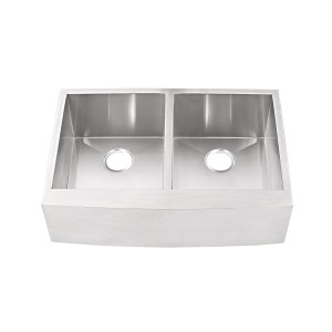 "444-FS Stainless Steel Apron Double Bowl Undermount Sink 32 7/8"" x 22"" x 10"""