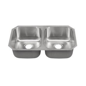"448 Stainless Steel Double Bowl Undermount Sink 32 3/8"" x 18 1/8"" x 9"""