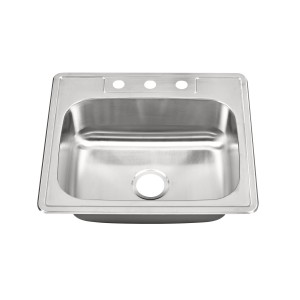 "457 Stainless Steel Top Mount / Self Rimming Single Bowl Sink 25"" x 22"" x 8"""