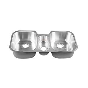 "498 Stainless Steel Undermount Triple Bowl Sink 42 1/4"" x 20 5/8"" x 9"" / 5 1/8"""